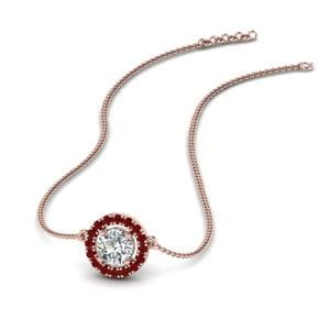 Delicate Ruby Pendant Necklace