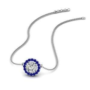Diamond Halo Pendant Necklace With Sapphire In 14K White Gold