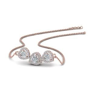 Diamond Heart 3 Stone Pendant Necklace In 18K Rose Gold