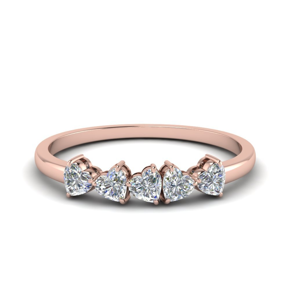 14K Rose Gold Heart Five Stone Wedding Bands