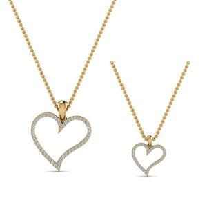 Diamond Heart Necklace For Mom Daughter