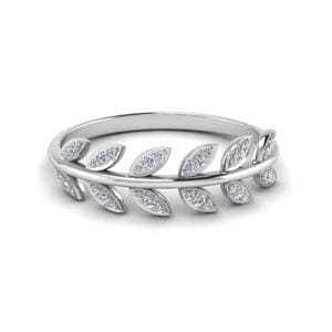 Diamond Leaf Wedding Band
