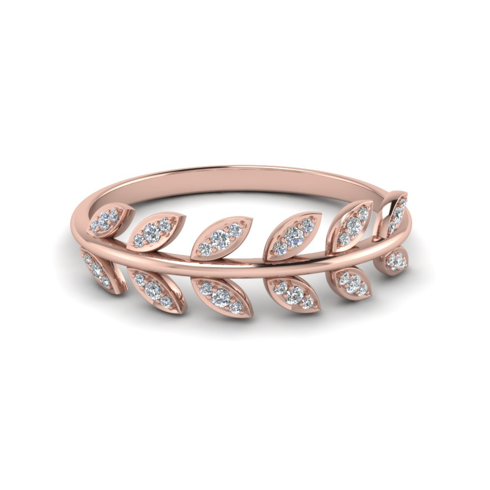 Diamond Leaf Nature Inspired Wedding Band In 18K Rose Gold