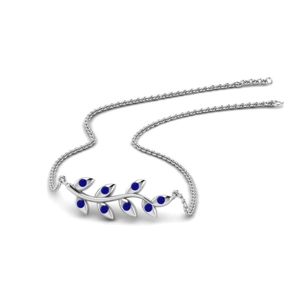 Leaf Pendant With Blue Sapphire In 14K White Gold