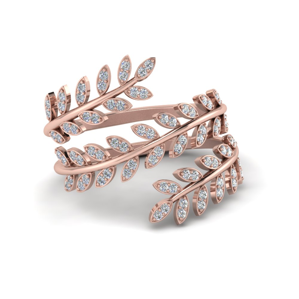 Diamond Leaf Spiral Ring In 14K Rose Gold