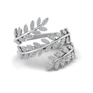 Diamond Leaf Spiral Ring