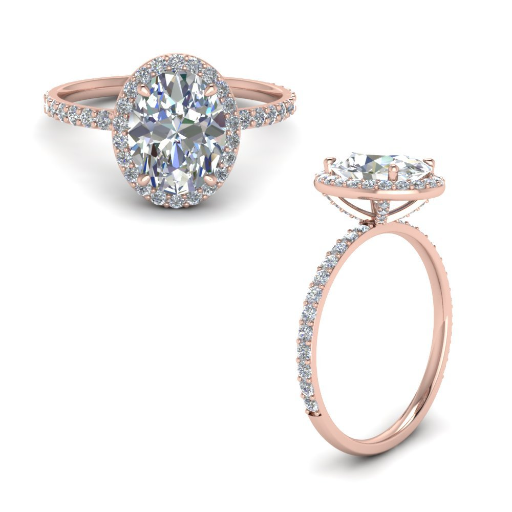 Prong Studded Diamond Oval Halo Ring