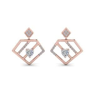 Diamond Pentagon Drop Earring