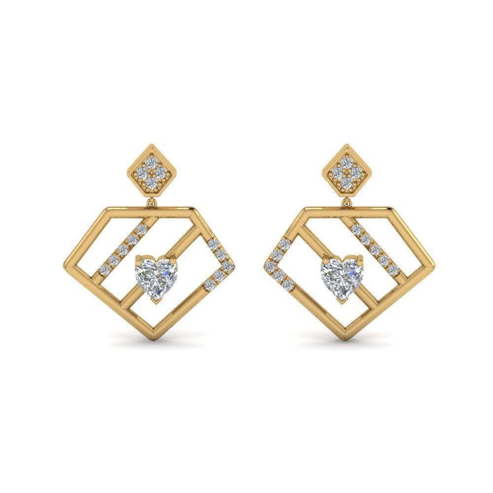 Diamond Pentagon Drop Earring In 14K Yellow Gold