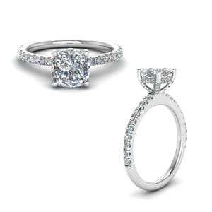 Diamond Prong Cushion Petite Engagement Ring In White Gold