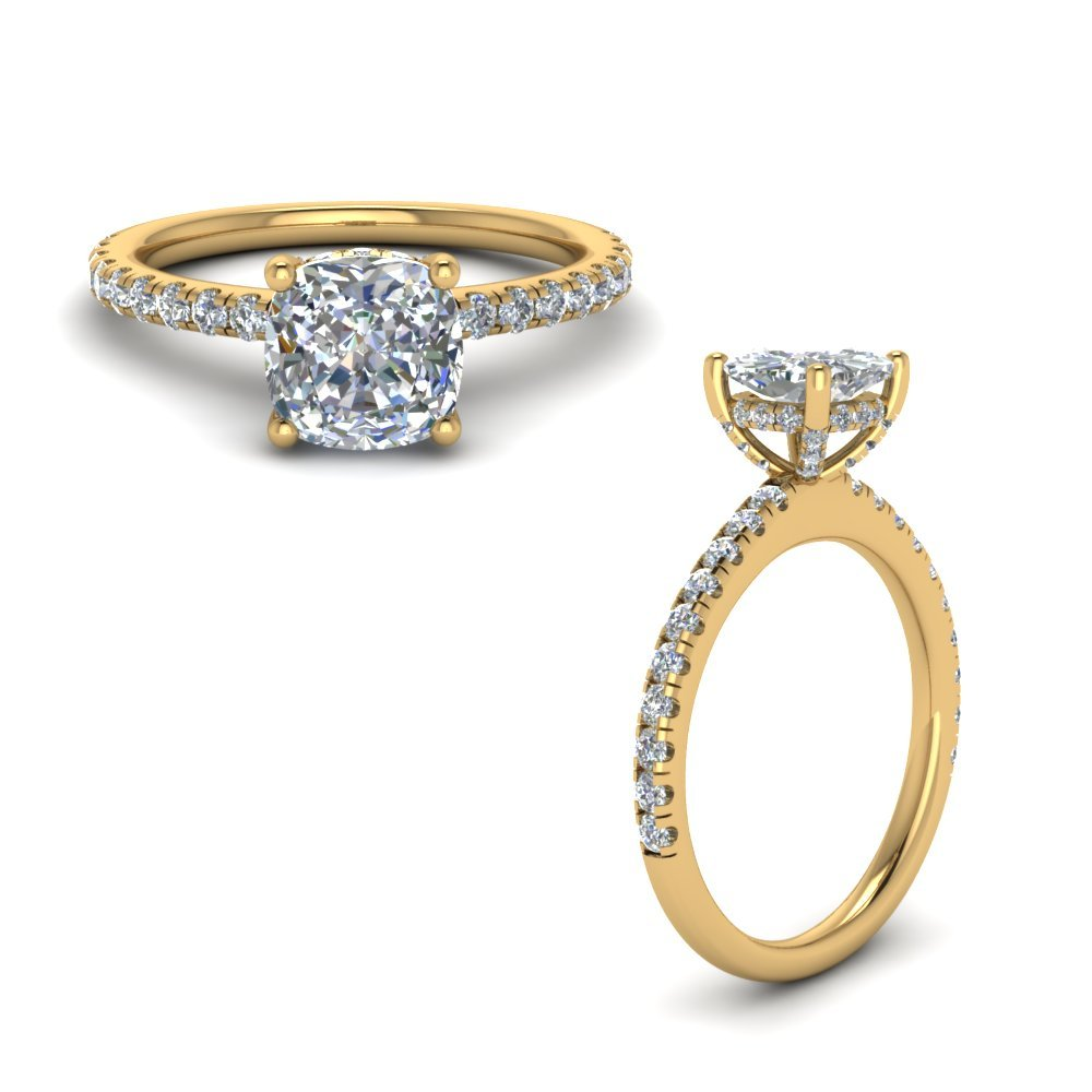 Diamond Prong Cushion Petite Ring In 14K Yellow Gold