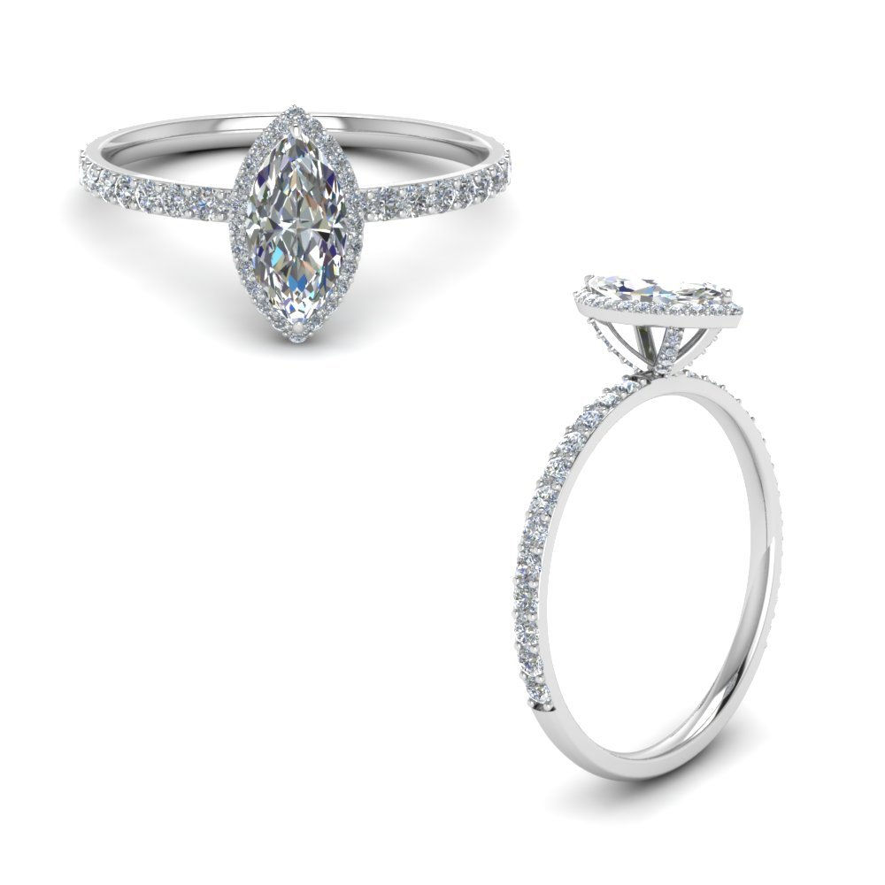 Diamond Prong Marquise Halo Engagement Ring In 18K White Gold