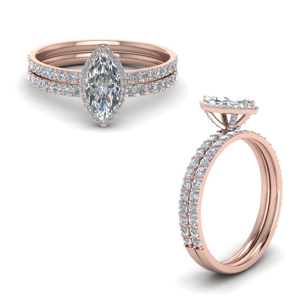 Diamond Prong Marquise Halo Wedding Set In 18K Rose Gold