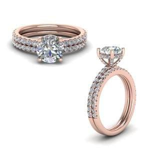 Diamond Prong Round Petite Bridal Set In 14K Rose Gold