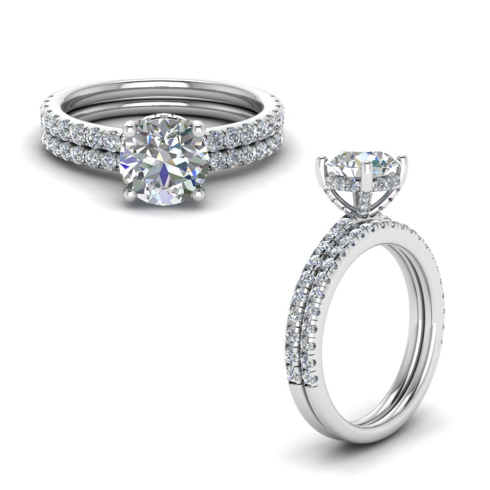 Diamond Prong Round Petite Bridal Set