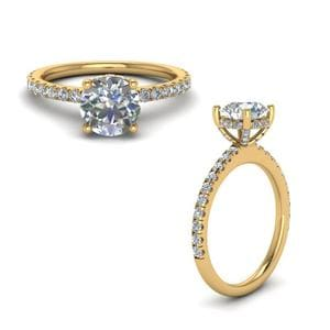 Diamond Prong Round Petite Ring In 18K Yellow Gold