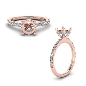 Semi Mount Petite Engagement Ring In 14K Rose Gold
