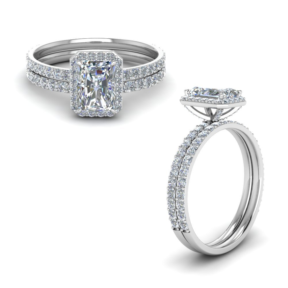 Diamond Radiant Cut Halo Bridal Set In 14K White Gold