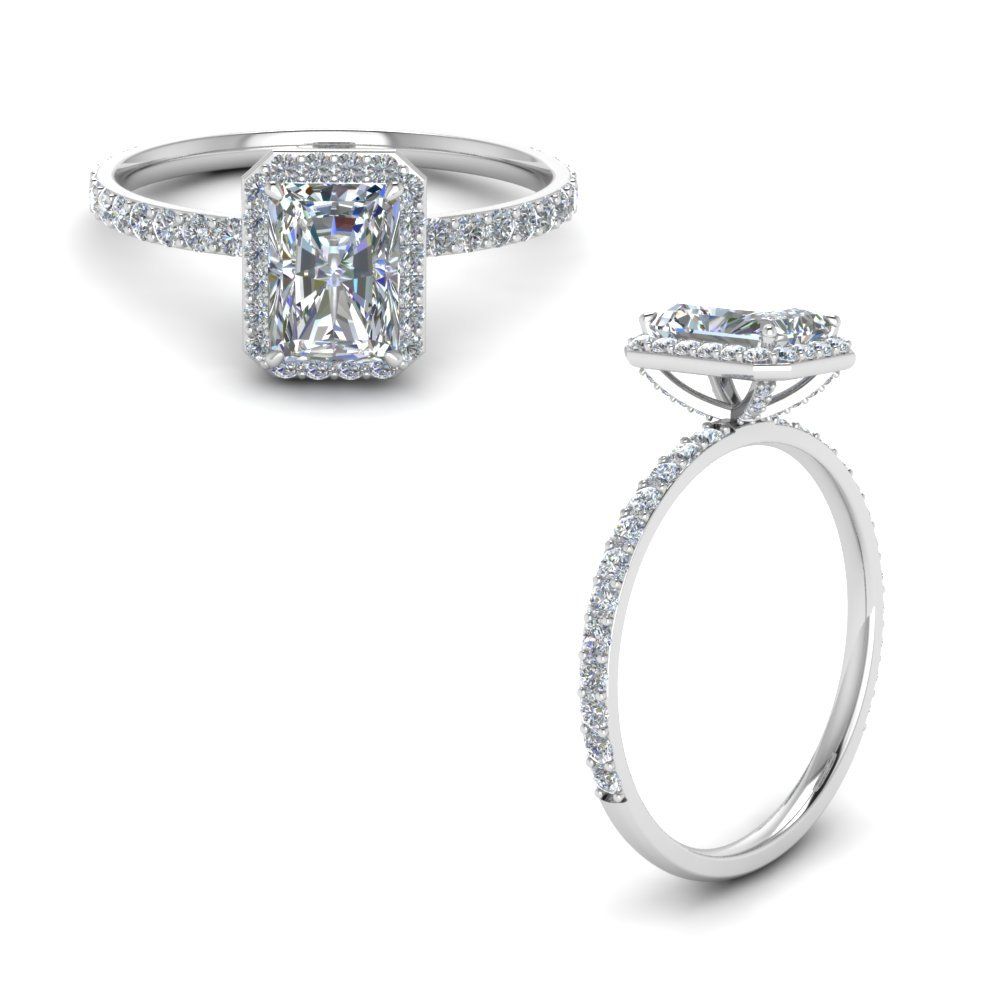 Diamond Radiant Cut Halo Ring In 14K White Gold