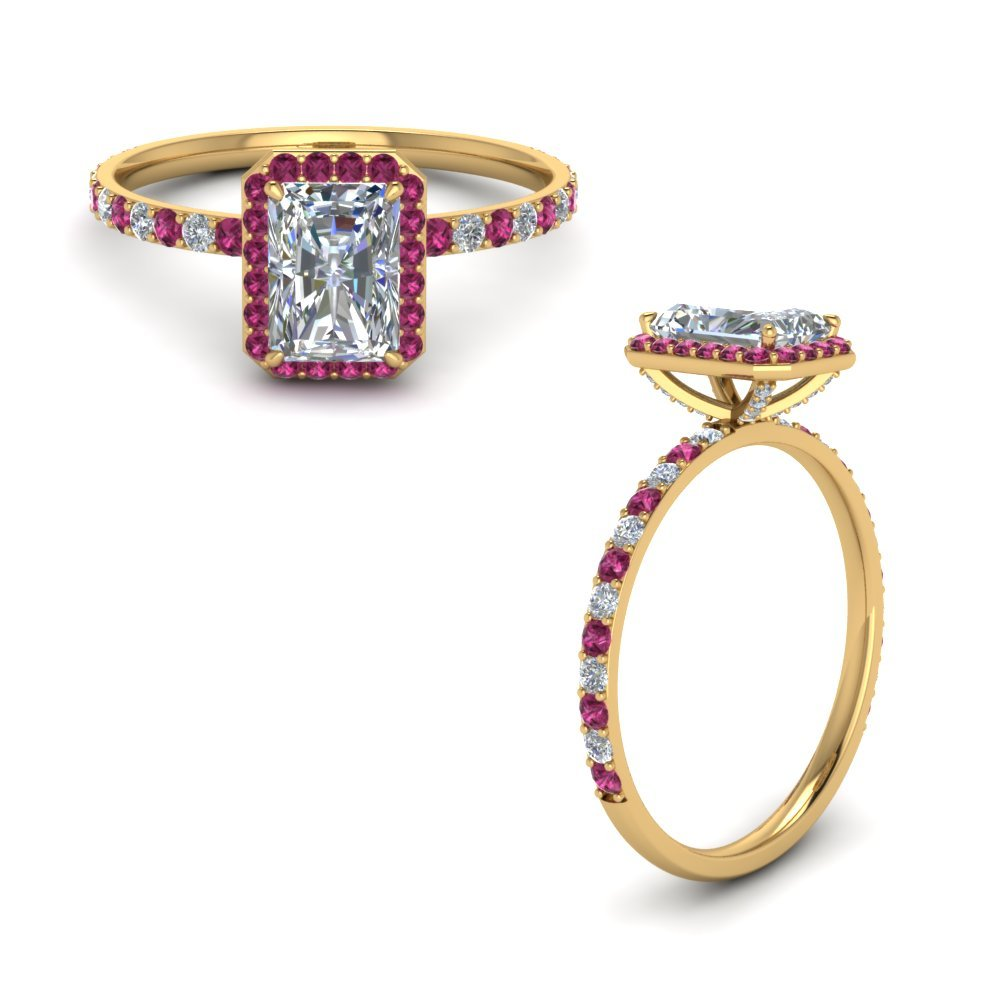 Radiant Cut Ring With Pink Sapphire
