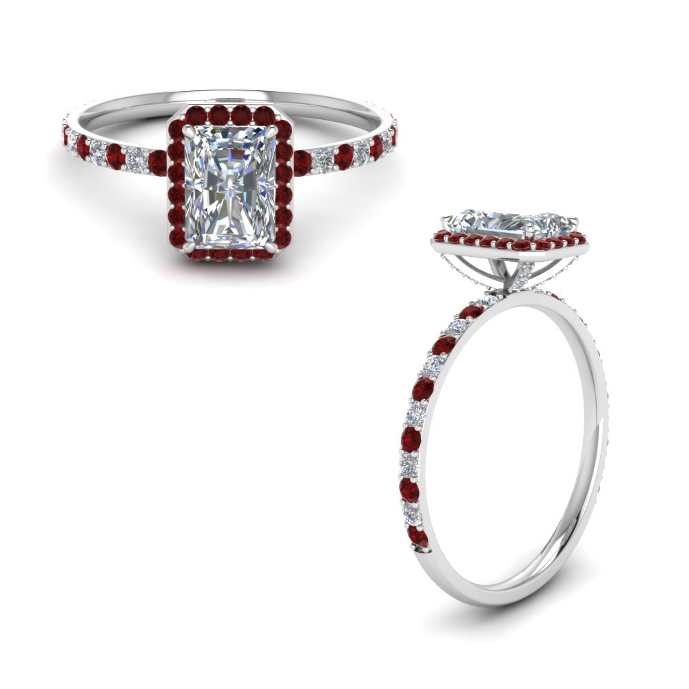 Radiant Cut Halo Ring With Ruby