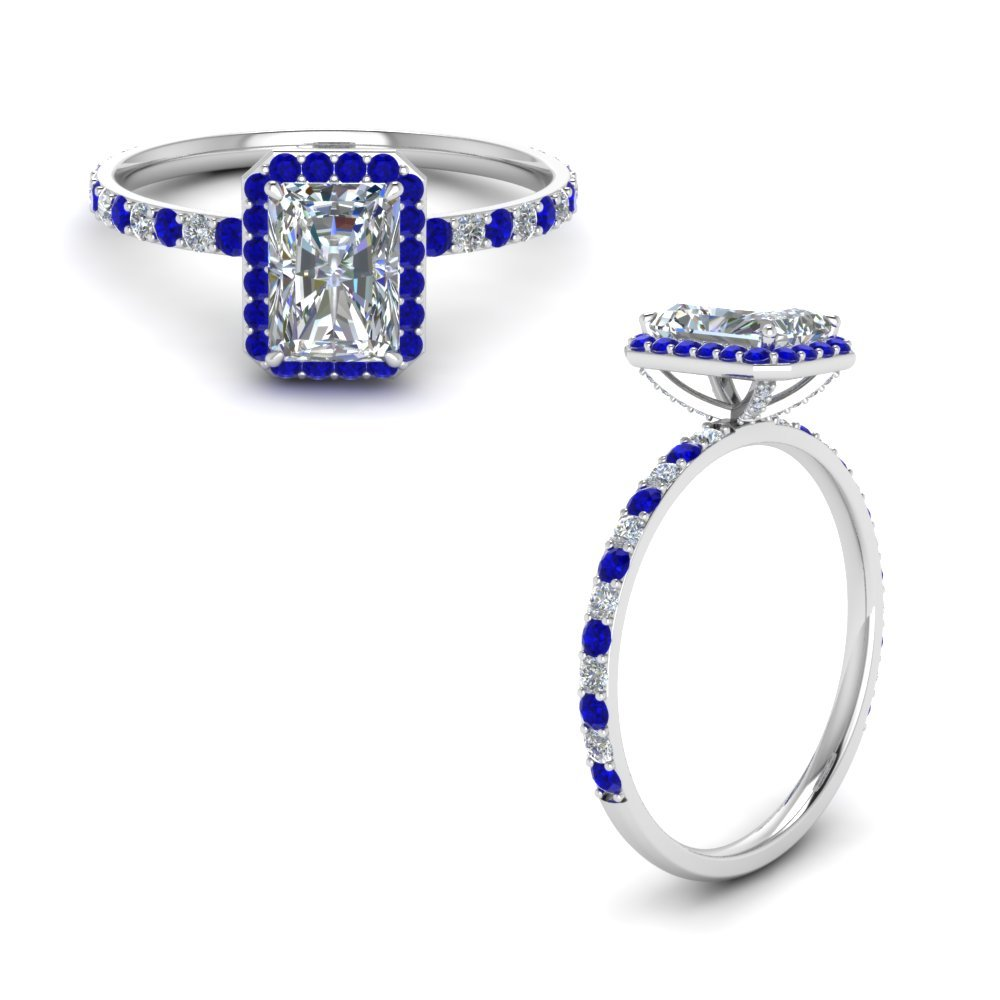 Platinum Halo Diamond Ring With Sapphire