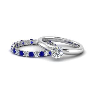 Diamond Ring With Sapphire Eternity Band Gifts In 14K White Gold