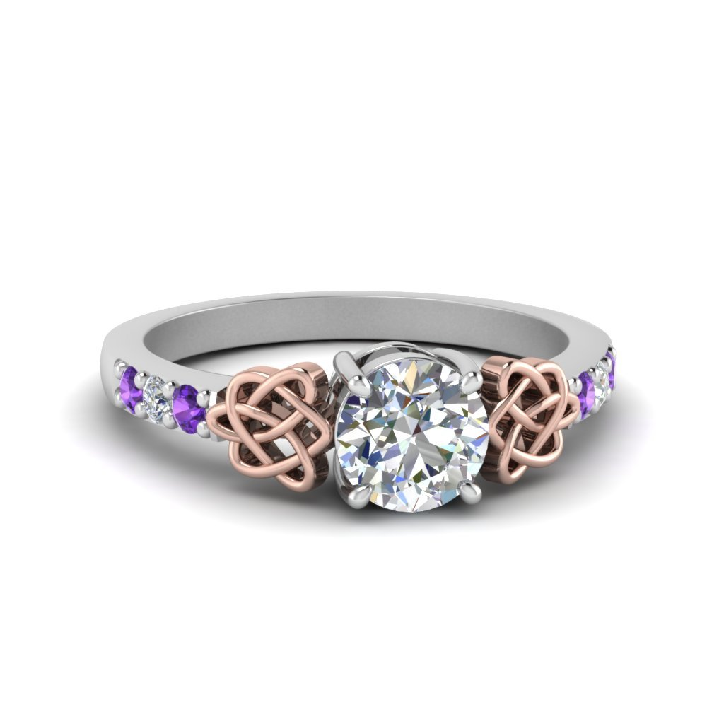 Purple Topaz Platinum Celtic Ring