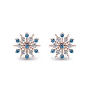 Diamond Snowflake Stud Earring With Blue Topaz In 14K Rose Gold