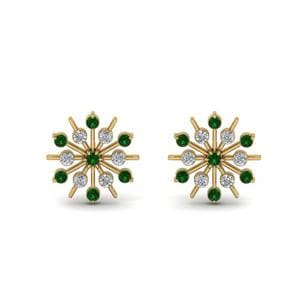 Diamond Snowflake Stud Earring With Emerald In 18K Yellow Gold