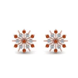 Diamond Snowflake Stud Earring With Orange Sapphire In 18K Rose Gold