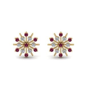 Diamond Snowflake Stud Earring With Pink Sapphire In 14K Yellow Gold