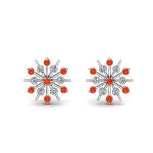Diamond Snowflake Stud Earring With Orange Topaz In 14K White Gold