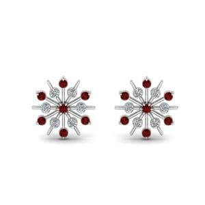 Diamond Snowflake Stud Earring With Ruby In 18K White Gold