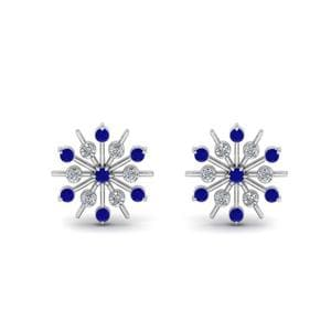 Diamond Snowflake Stud Earring With Sapphire In 14K White Gold