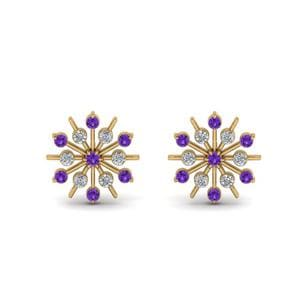 Diamond Snowflake Stud Earring With Purple Topaz In 14K Yellow Gold