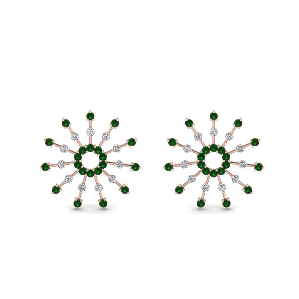 Emerald Stud Circle Earring