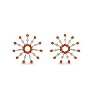 Diamond Stud Earring With Orange Sapphire