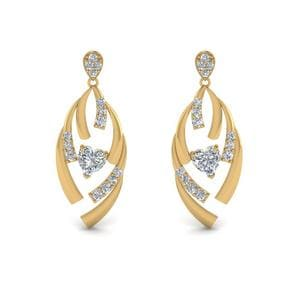Diamond Stud Drop Heart Earring In 18K Yellow Gold