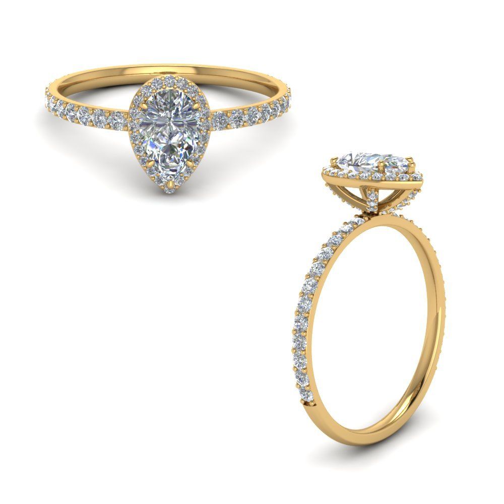 Diamond Studded Prong Pear Halo Ring