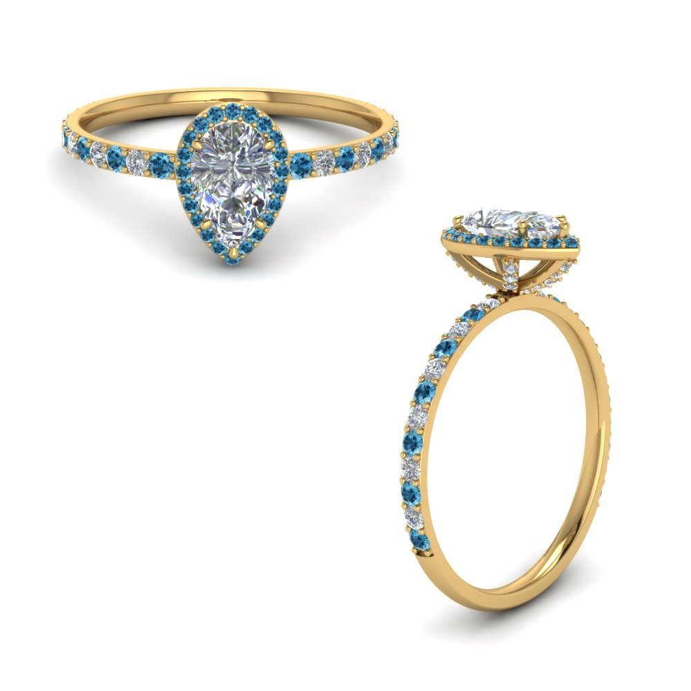 Pear Diamond Ring With Blue Topaz
