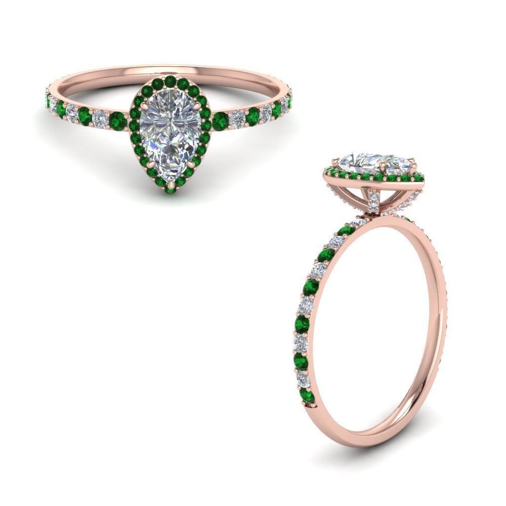 Pear Diamond Halo Ring With Emerald