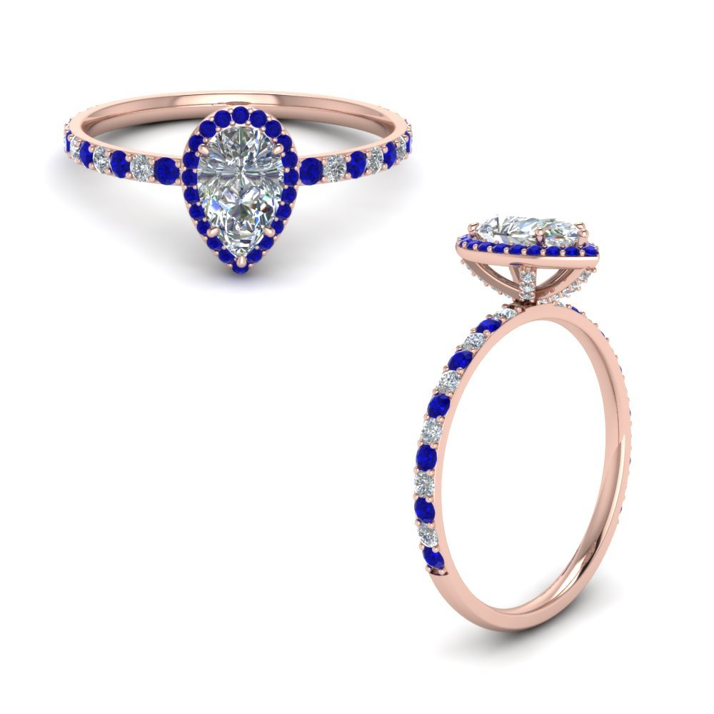 Sapphire With Pear Diamond Ring Halo