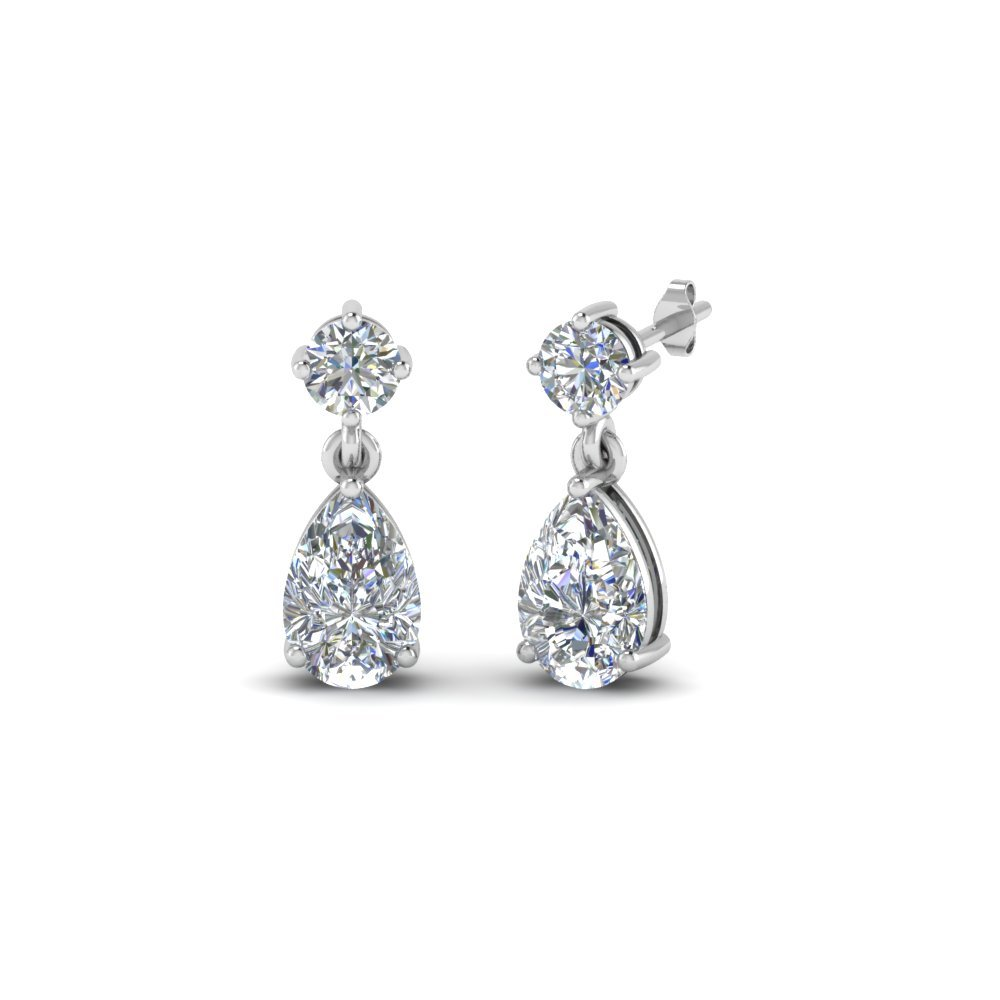 Diamond Teardrop Earring For Mom In 18K White Gold