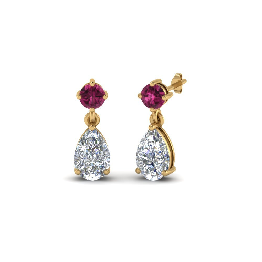 Diamond Teardrop Earring For Mom With Pink Sapphire In 14K Yellow Gold