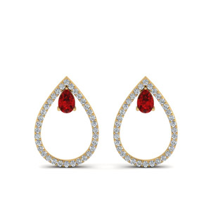 Ruby Teardrop Stud Earring