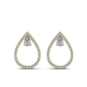 Diamond Teardrop Stud Earring In 14K Yellow Gold