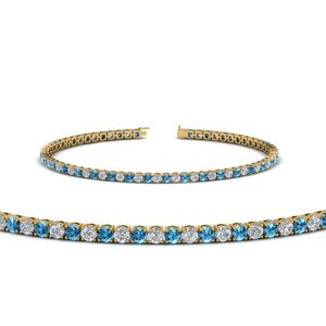 Blue Topaz 3 Ctw. Diamond Tennis Bracelet