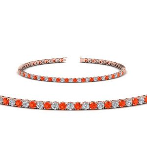 Orange Topaz Diamond Tennis Bracelet