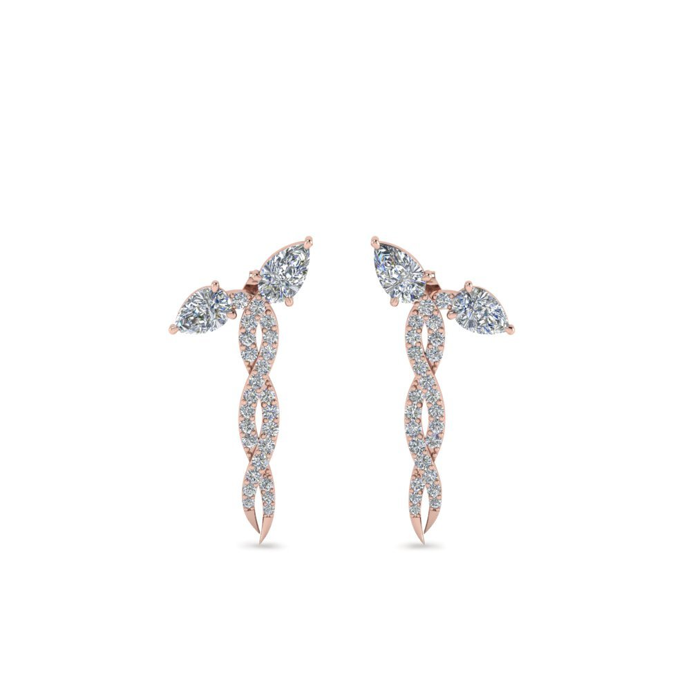 Diamond Twisted Snake Earring In 18K Rose Gold